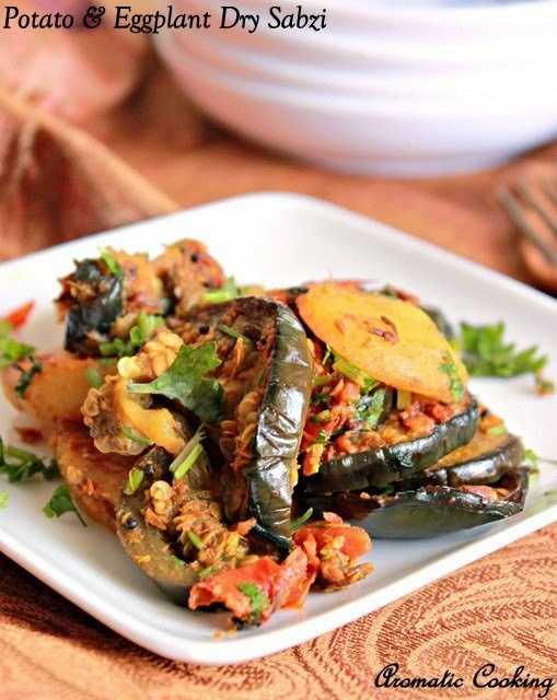 Potato And Eggplant Dry Sabzi