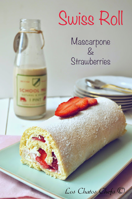 Mascarpone & Strawberries Swiss Roll