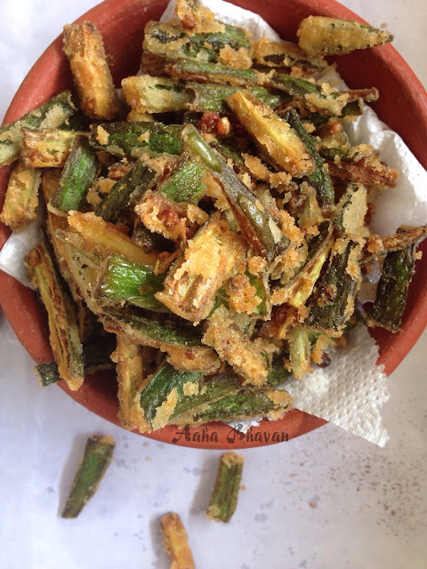 Indian style deep fried okra lady's finger