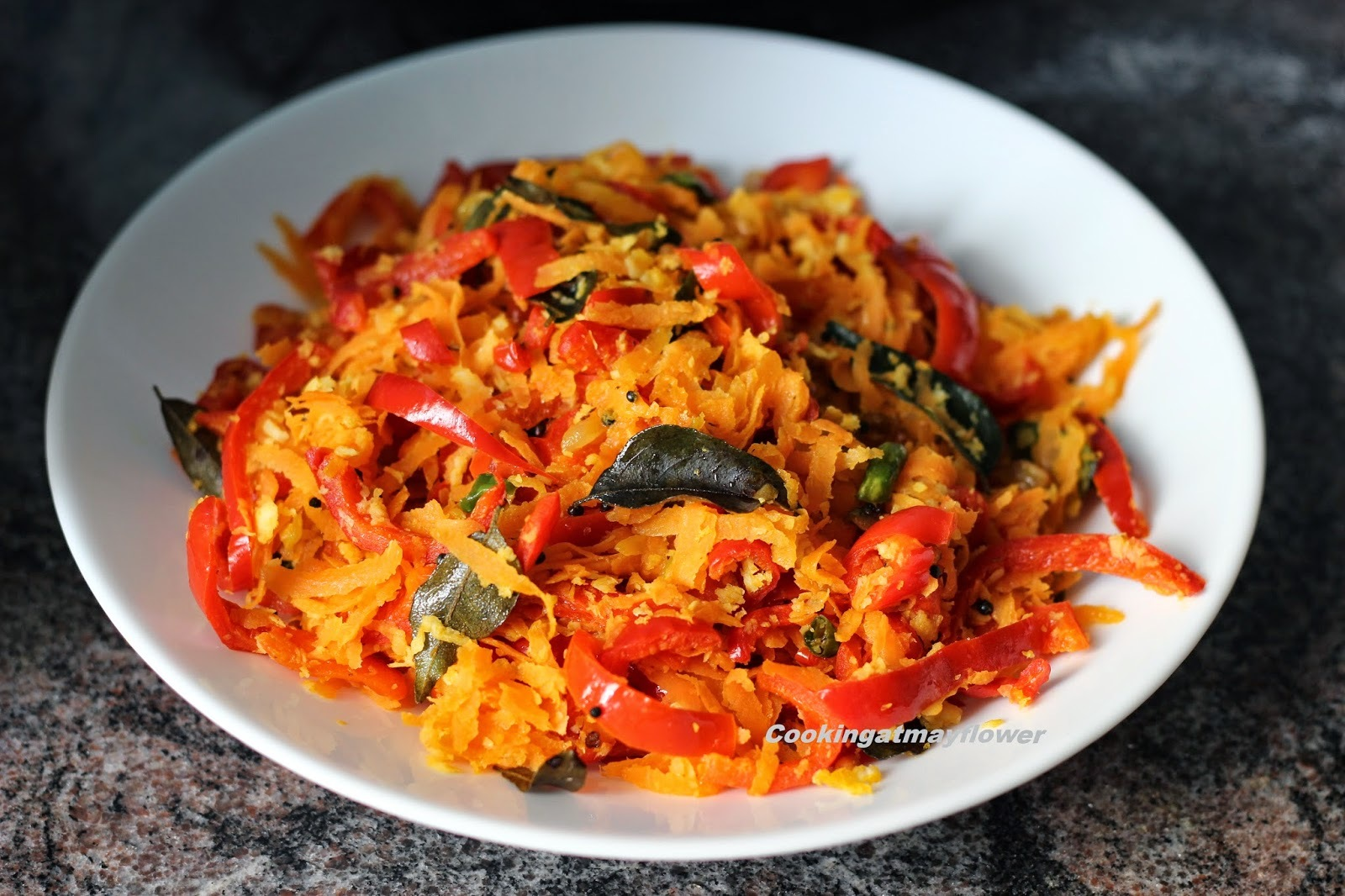 Carrot red bell pepper thoran/ Carrot red capsicum stir fry