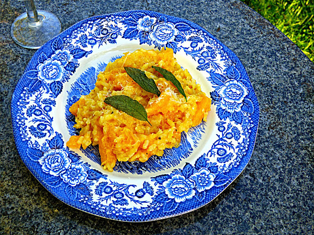 Squash risotto with crispy sage