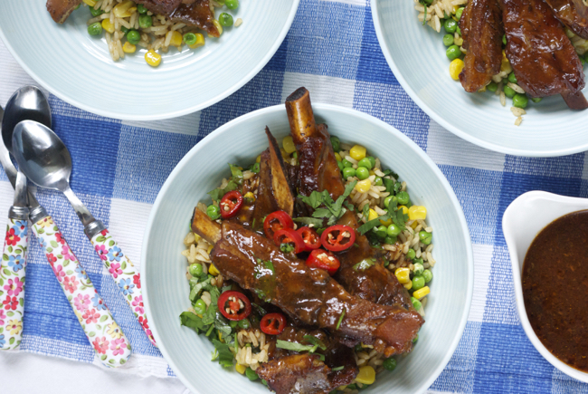 Slow cooker sticky ribs with cheat's fried rice