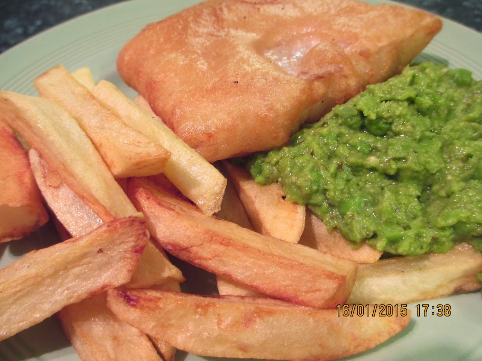 Beer battered cod, pesto pea puree and chips with Chocolate orange brownies and ice cream