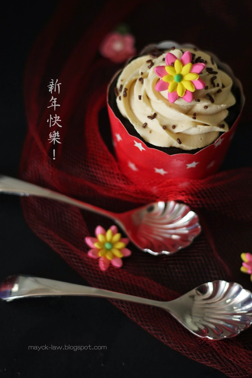 巧克力杯子蛋糕~咖啡乳酪奶油霜 (Chocolate Cupcake with Coffee and Cream Cheese Frosting)