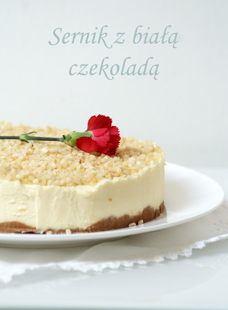 Sernik z białą czekoladą, bez pieczenia / White chocolate cheesecake without baking