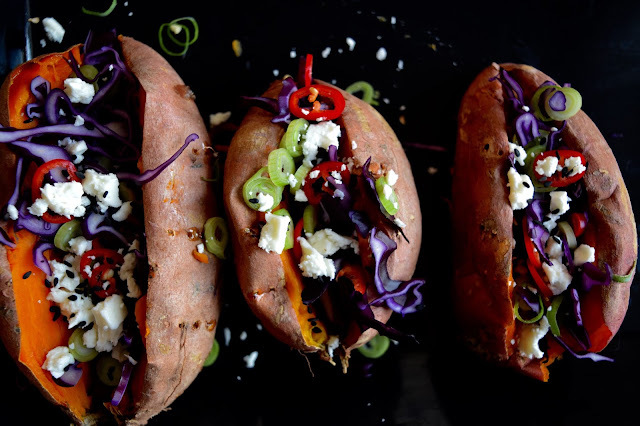 Veg Stuffed Sweet Potatoes, A perfe superfood supper for two.