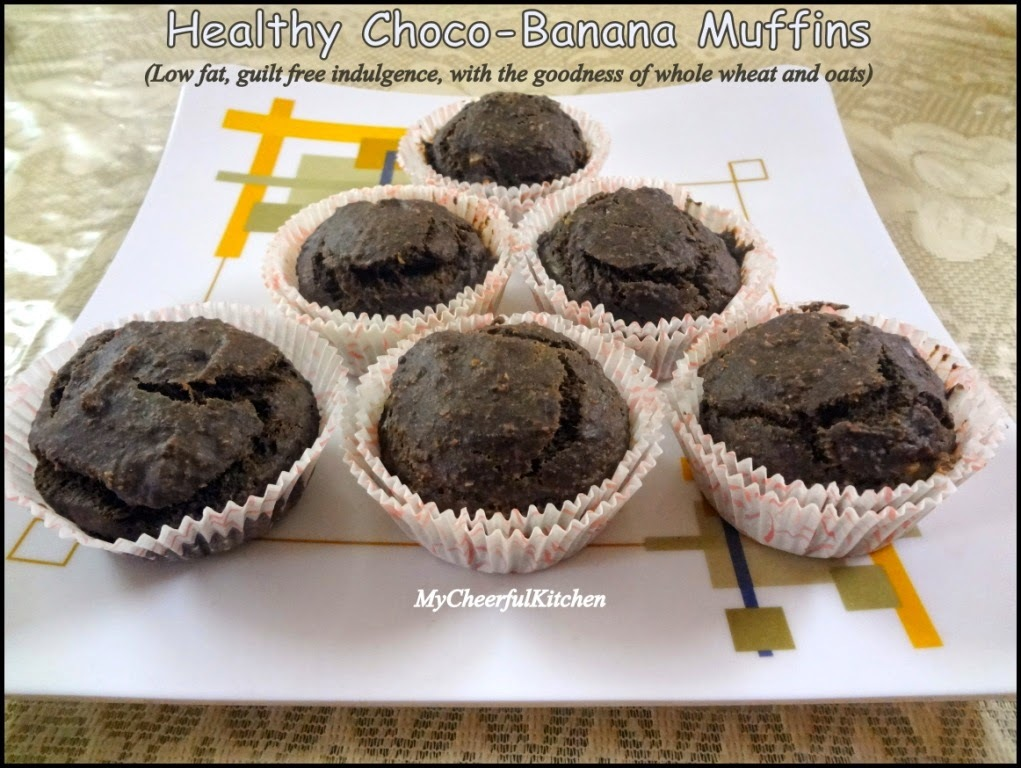 Choco-Banana Muffins (Low-fat and eggless)
