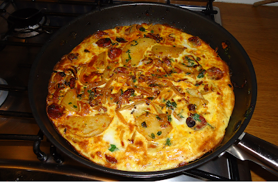 Duck egg and chorizo tortilla