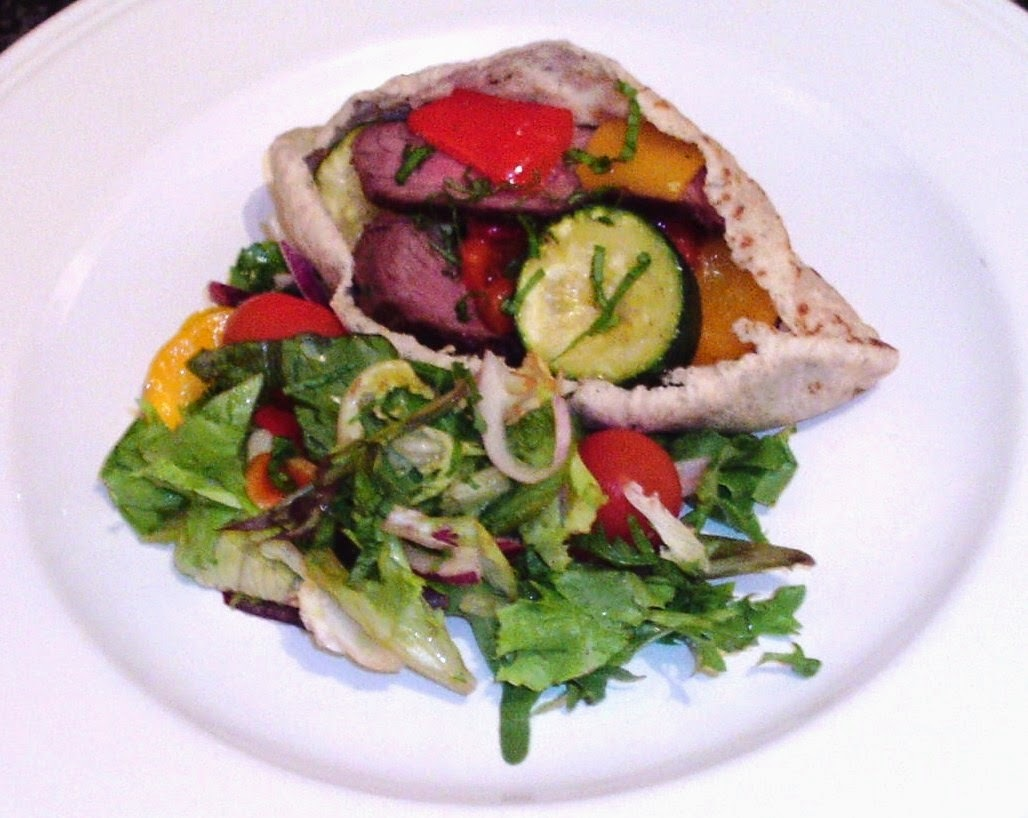 Seared Ostrich and Roasted Mediterranean Vegetables Pitta Pocket