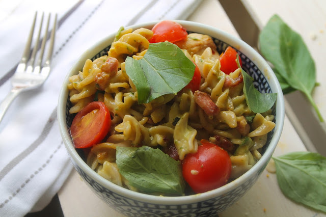 Creamy Avocado, Chicken & Bacon Pasta Salad (Gluten-Free)