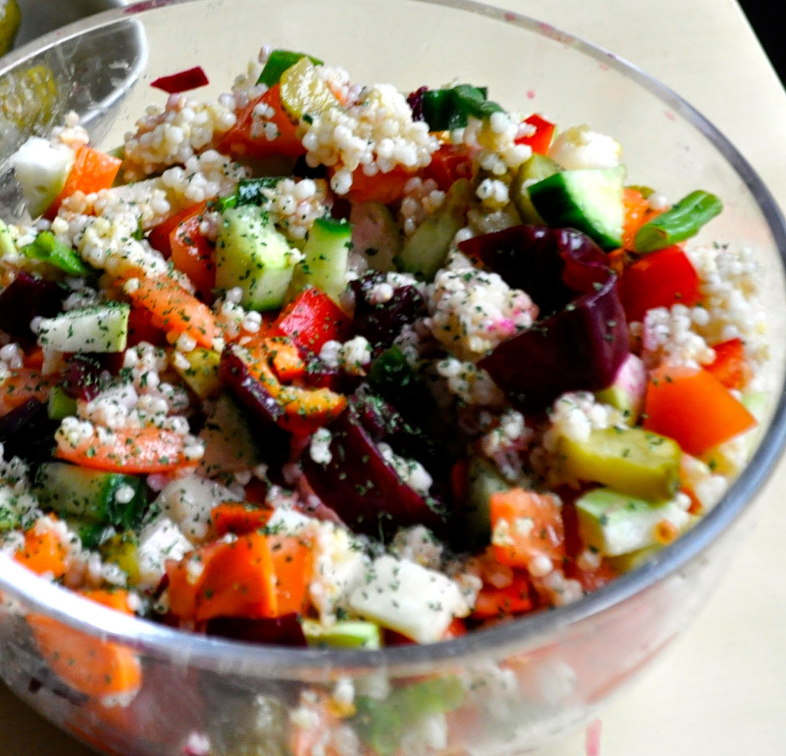 Quinoa, barley and pickled vegetable salad