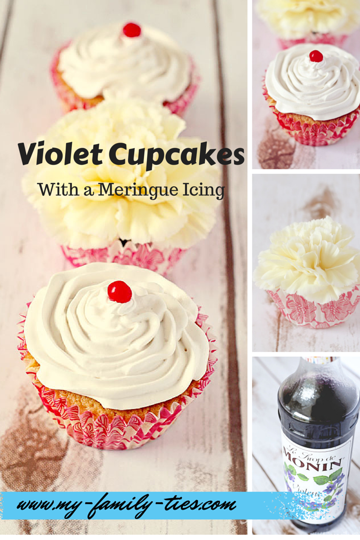 Violet Cupcakes With Meringue Icing