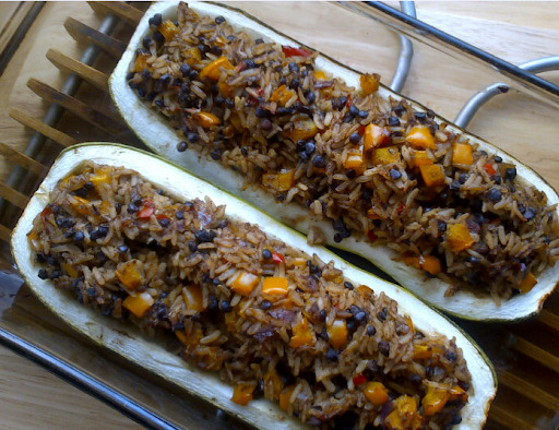 Rocket & Roses Lebanese Spiced Stuffed Marrow with Brown Rice & Puy Lentils