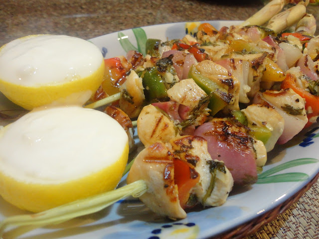 CHICKEN KEBABS in LEMONGRASS skewers with GARLIC YOGURT