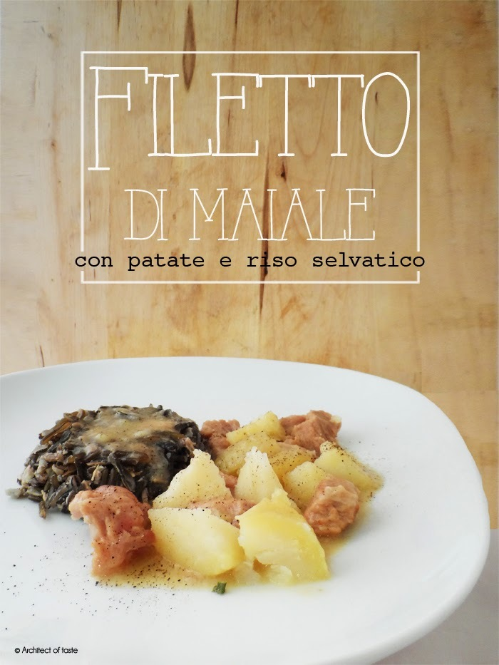 Filetto di maiale con patate e riso selvatico