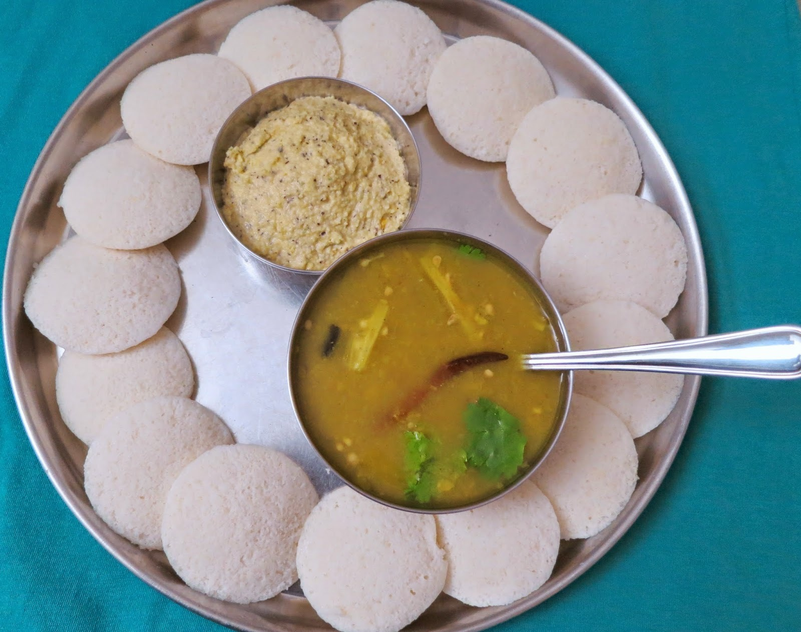 Idlis( South Indian steamed rice and spilt black gram dumplings)