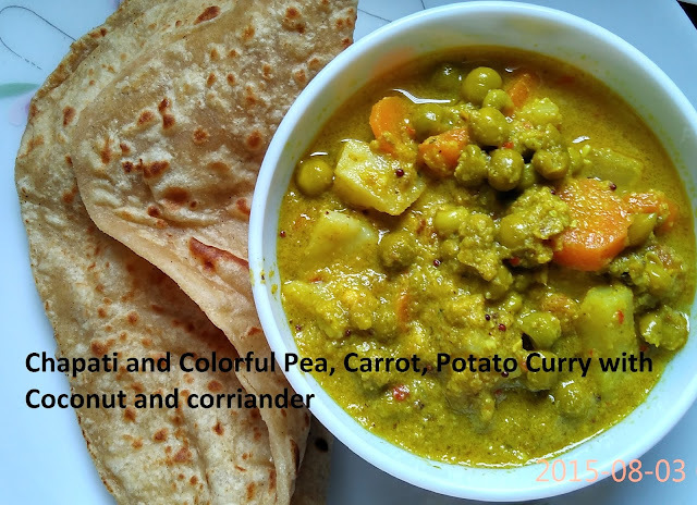Chapati and no onion, garlic vegetable curry with coconut and corriander, lip smacking
