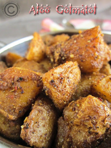 ALOO GOLMATOL I DRY BABY POTATO CURRY WITH SPICES