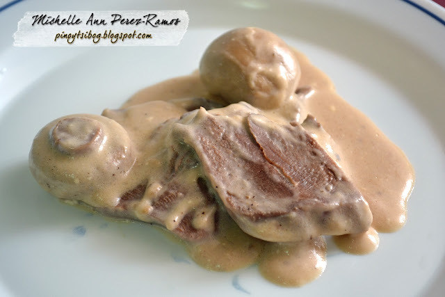 Pork Lengua with White Mushroom Sauce