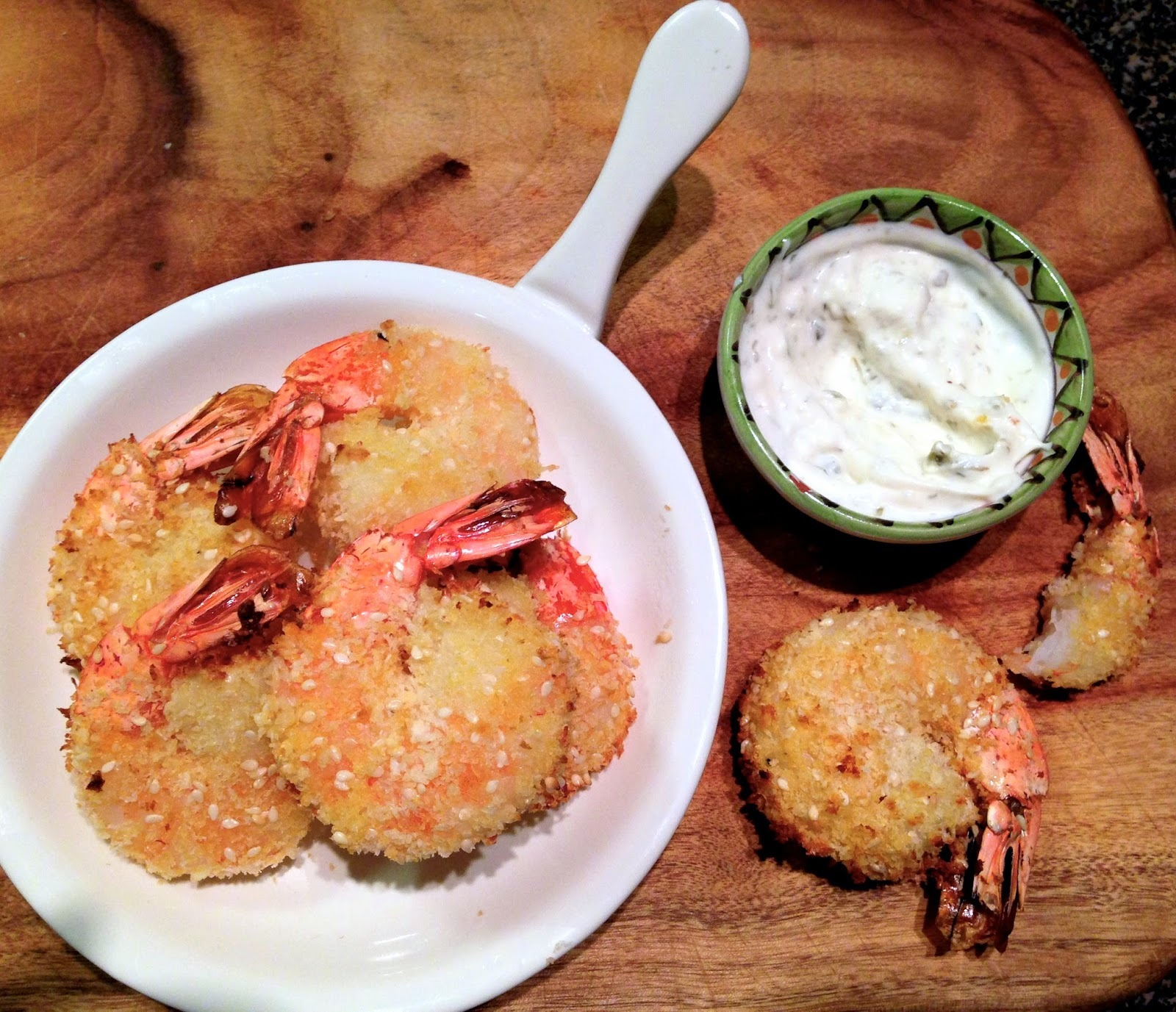 Sesame Crumbed Prawns with Lemon Caper Aioli