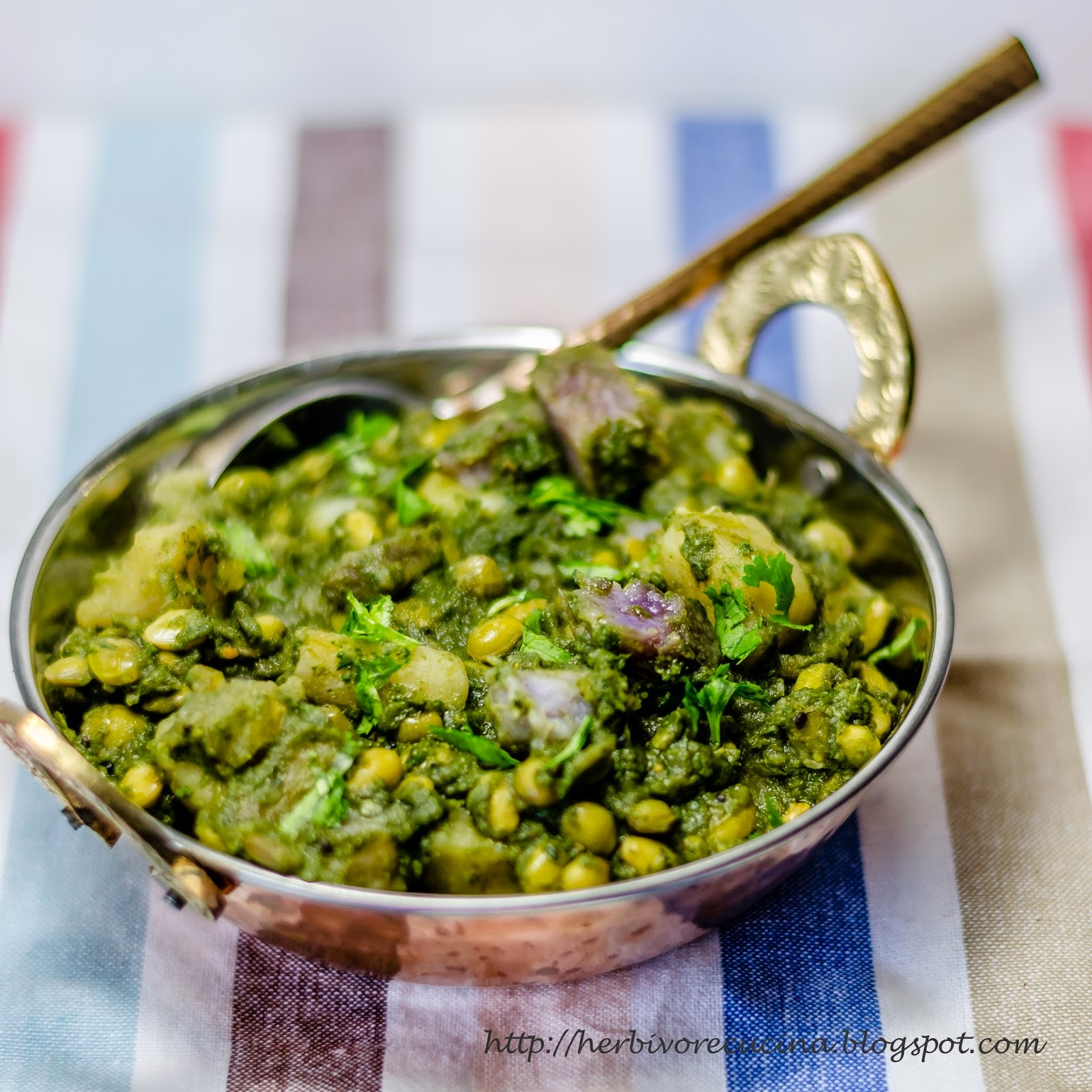 Winter Vegetables and Tuvar Lilva in Green Sauce