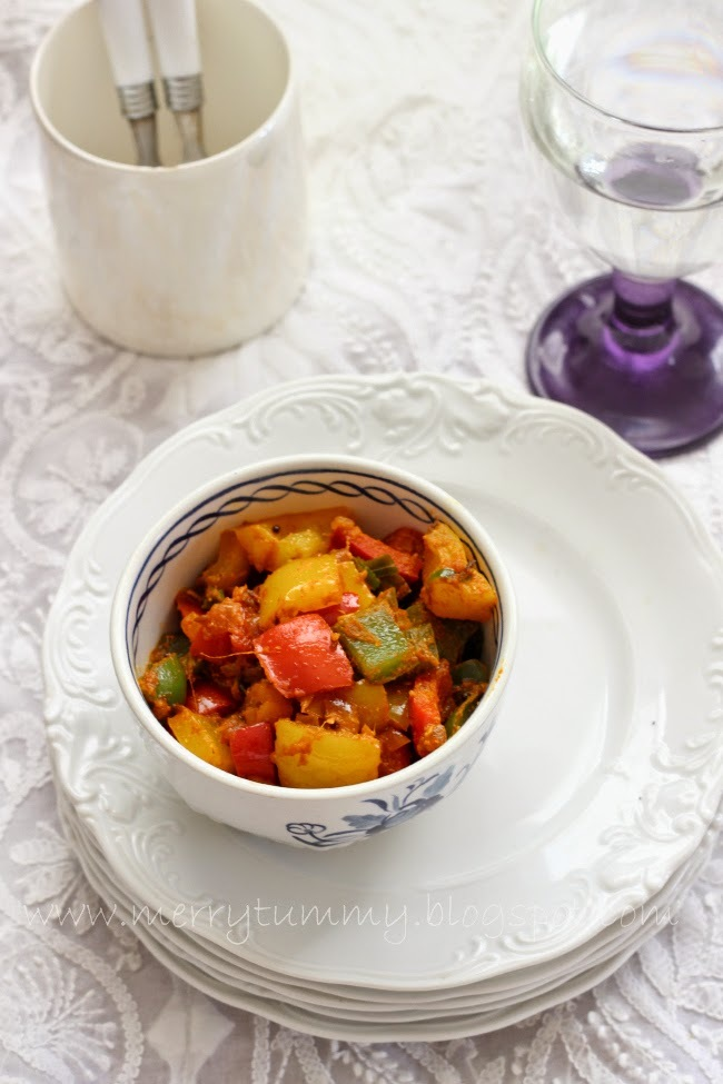 Capsicum Massala/Indian Capsicum Stir Fry. 1 Teaspoon Oil Side Dish.