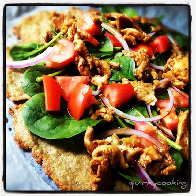 Fajita Chicken & Salad Pizza on Quinoa & Chia Seed Flatbread - Recipe...