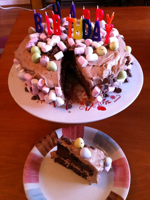 Birthday cakes- Rocky road cake and coffee and walnut.