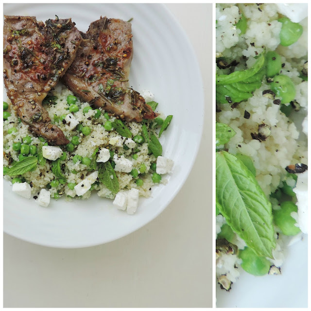 Marinated Lamb Chops with Minted Couscous