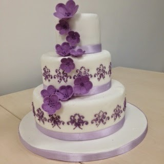 Purple Lilac Flowers Three-Tier Wedding Cake