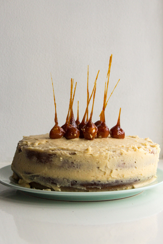 Salted Caramel Mud Cake with Caramel Spikes