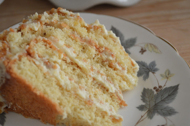 White chocolate, lemon and macadamia Genoise layer cake