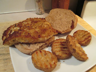 Panko Crusted Orange Roughy Fish sandwich w/ Baked Seasoned Potato Grillers