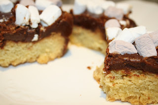 Shortbread Squares with Chocolate Fudge and Marshmallow Topping