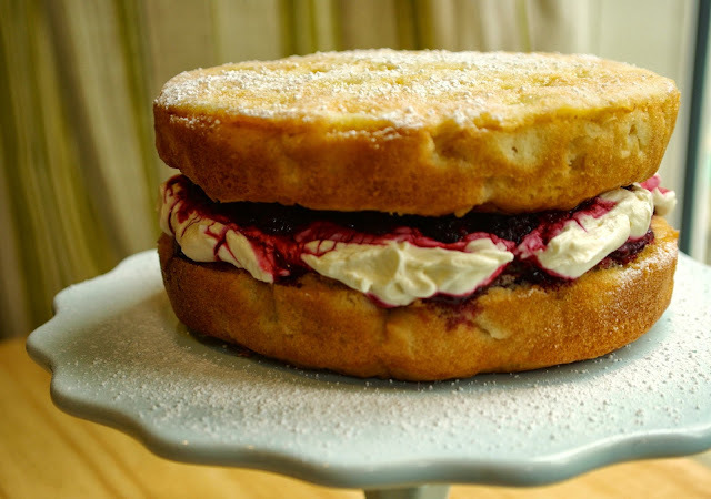 Bramley apple Victoria sandwich with blackberry compote and cream filling