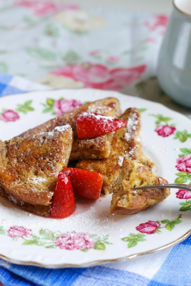 Peanut butter stuffed French toast with strawberries