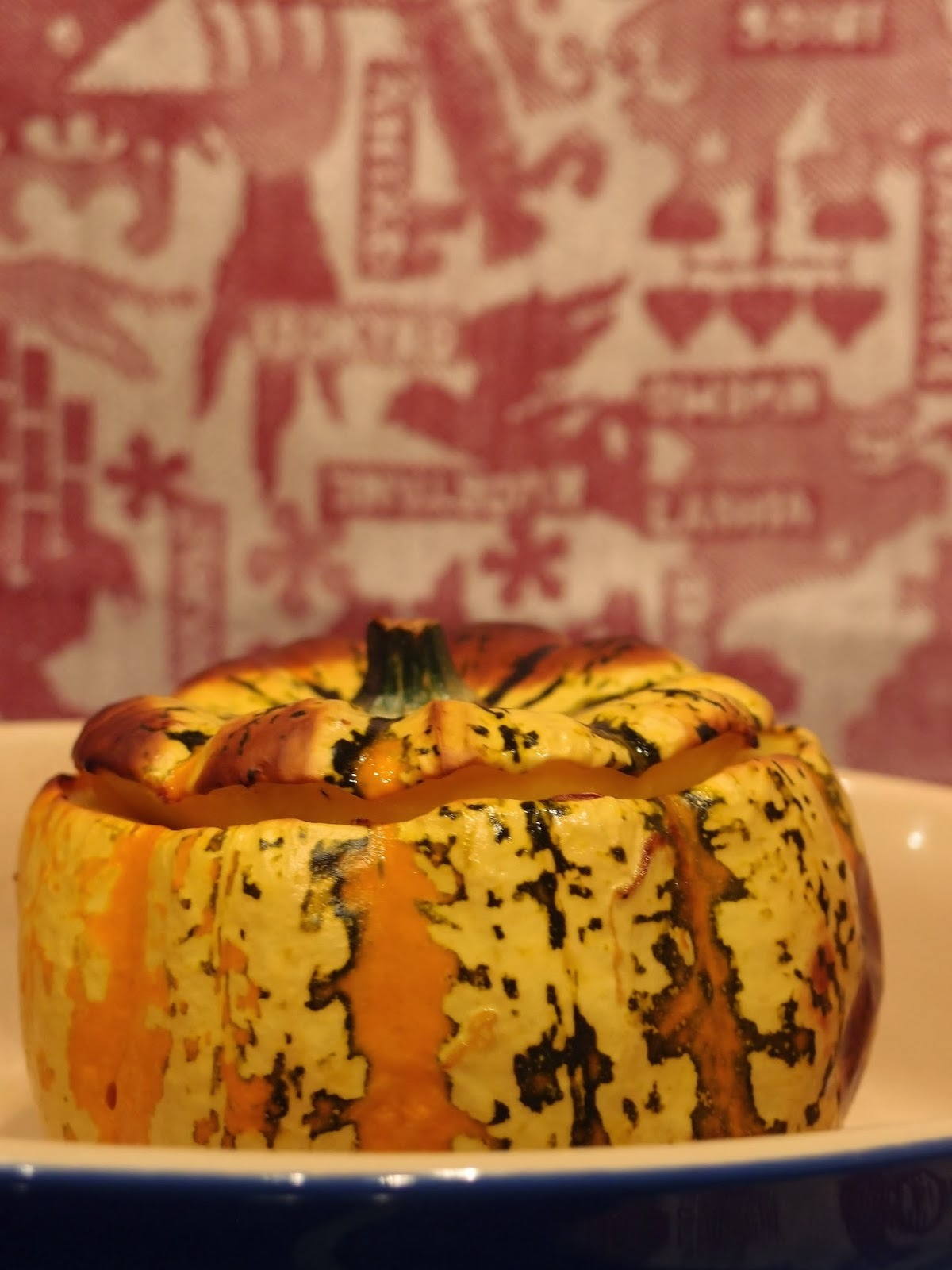 Harlequin squash stuffed with couscous