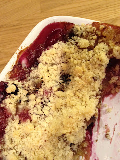 Rhubarb and blueberry crumble