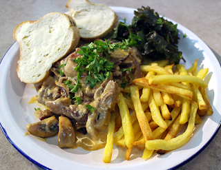 Pork and Mushroom Stroganoff with Fries and Baby Kale