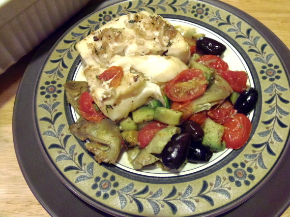Baked Cod With Tomatoes, Artichokes And Avocados