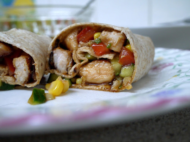 Hoisin Chicken Wraps with Sweetcorn + Cucumber Salsa.