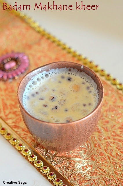 Badam aur makhana ki kheer - Almond and lotus seeds pudding - easy pudding recipes