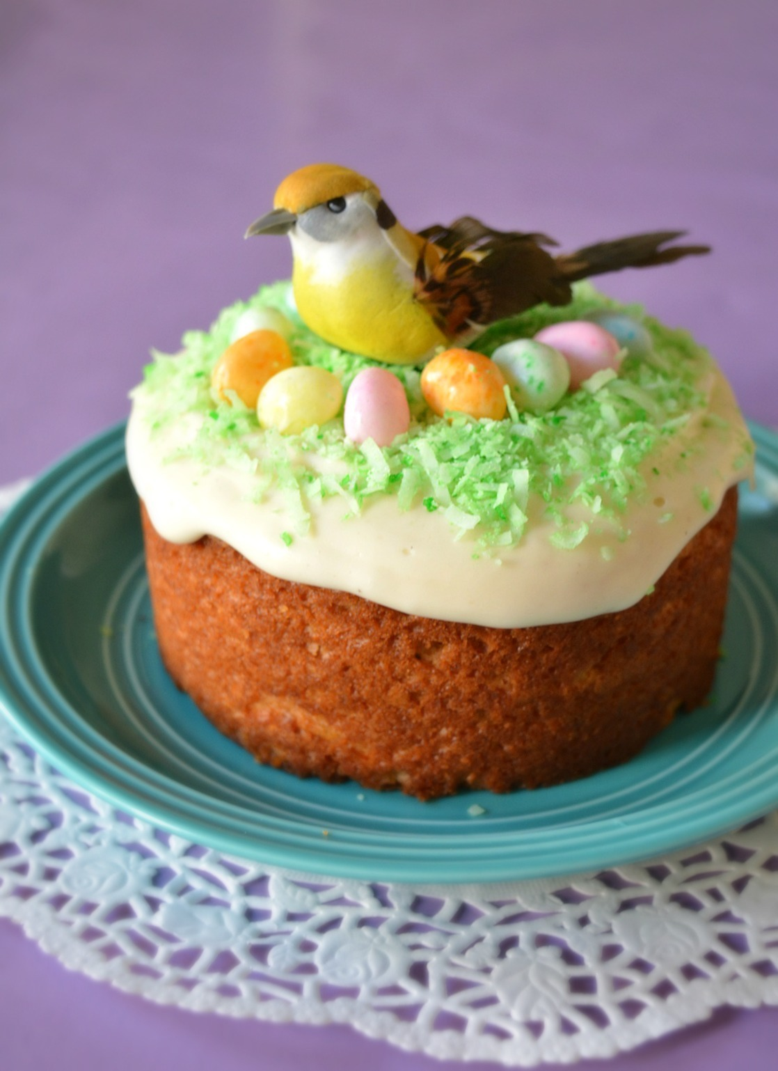 Easter Bird's Nest Cake | Eggless Carrot cake with cream cheese frosting