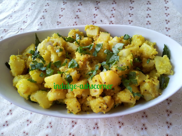 Pivali/Yellow Batatyachi Bhaji- A staple in most Traditional Marathi Menu's.