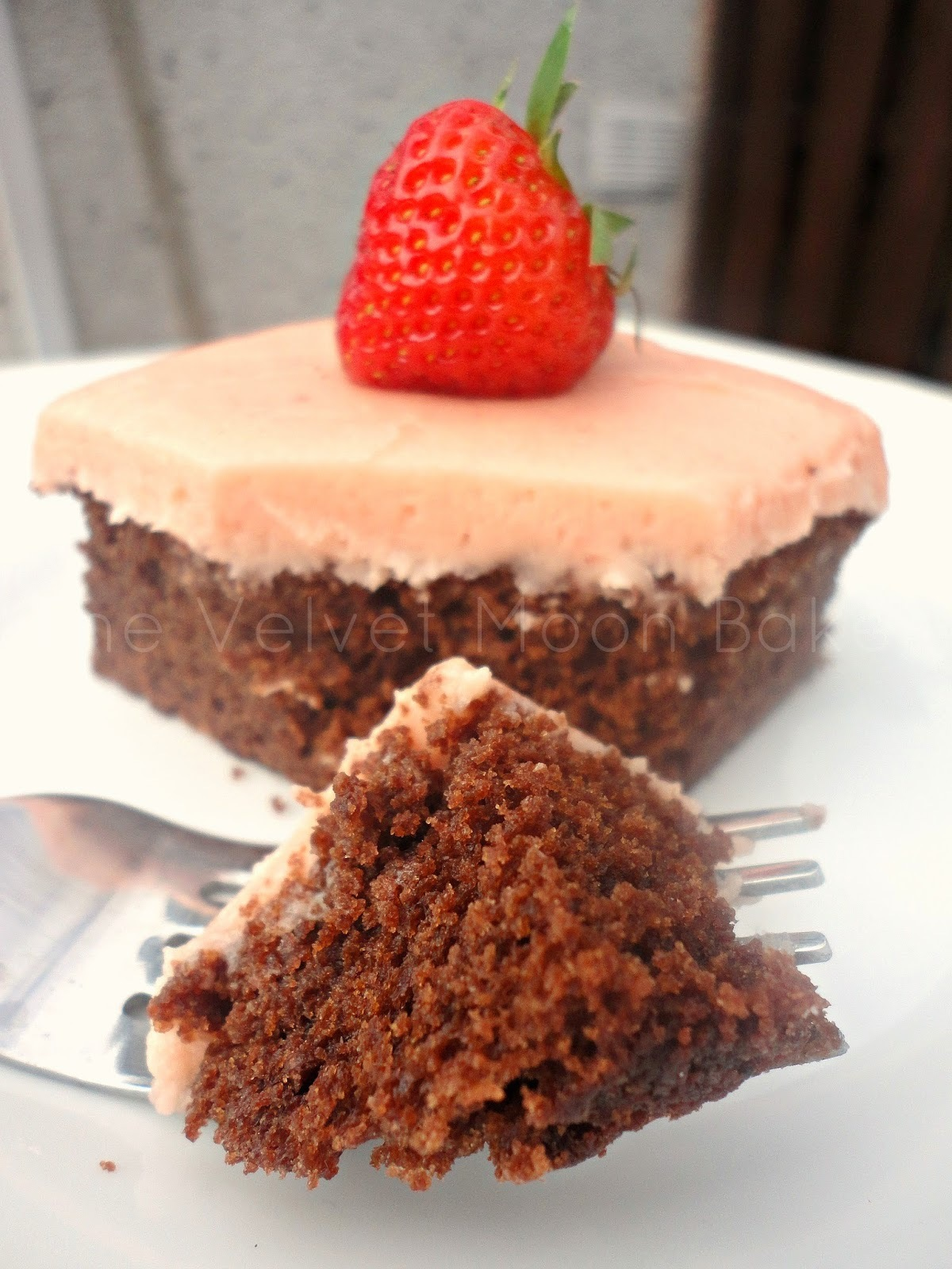 Chocolate Cola Cake with Strawberry Buttercream