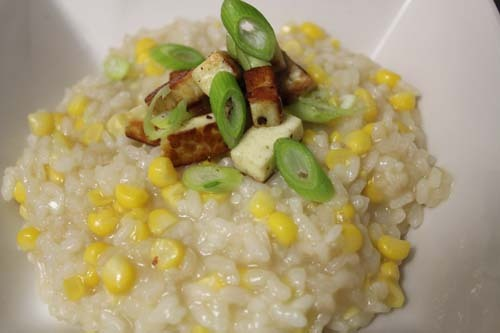 Sweetcorn risotto with haloumi