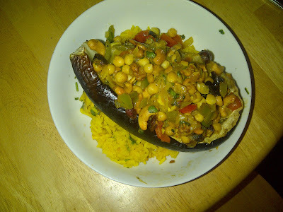 Recipe - Iranian Stuffed Aubergines with Yellow Rice