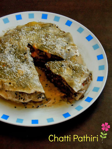 Chatti Pathiri/Kerala Sweet Lasagna/Crepes Layered With Sweet Filling