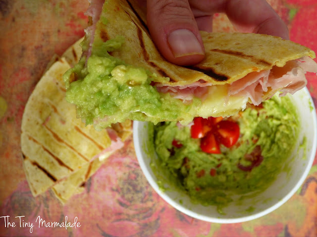 Camembert Quesadillas with Guacamole Dip