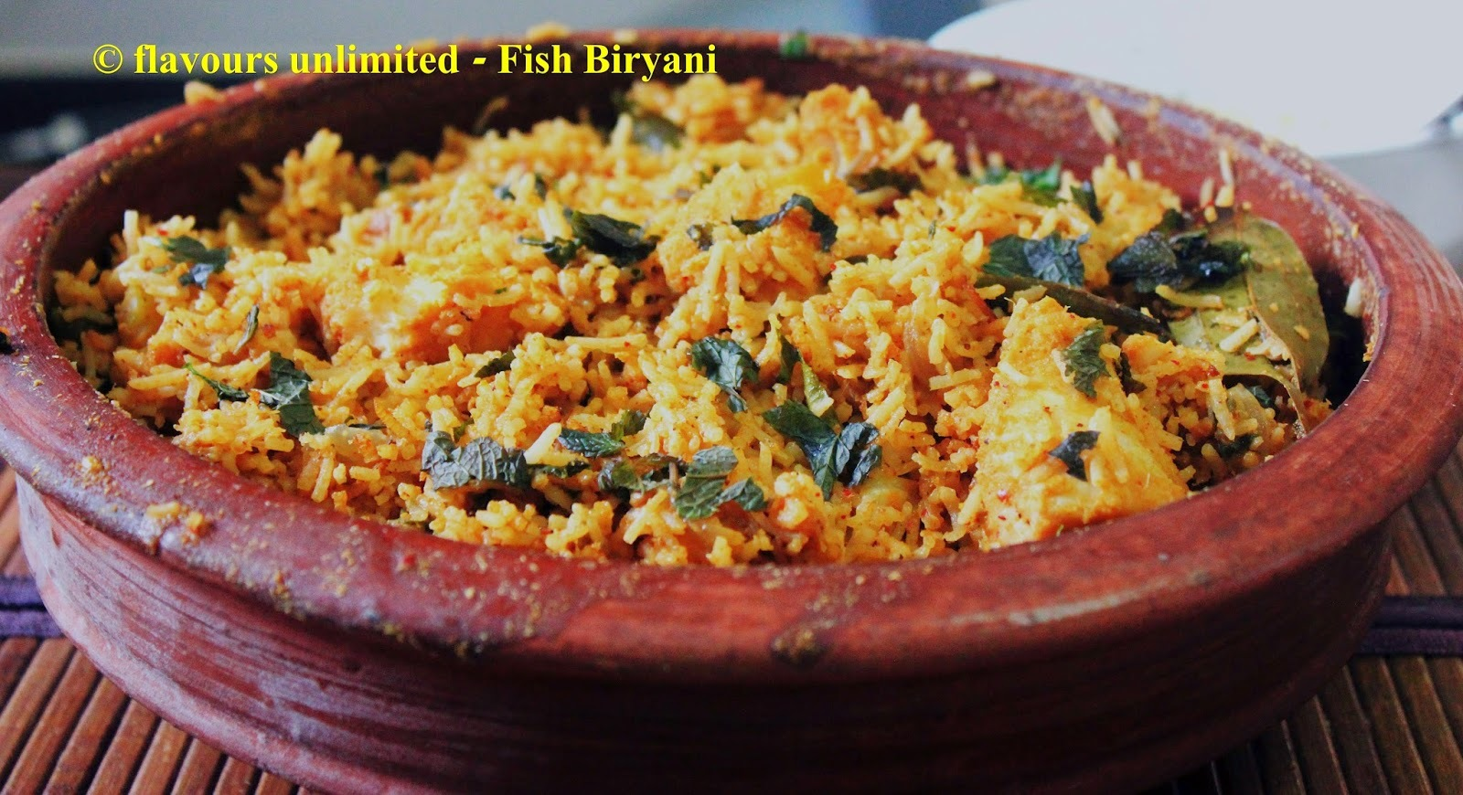 Fish Biryani or Fish Pulao in Clay Pot - South Indian Style with Coconut Milk